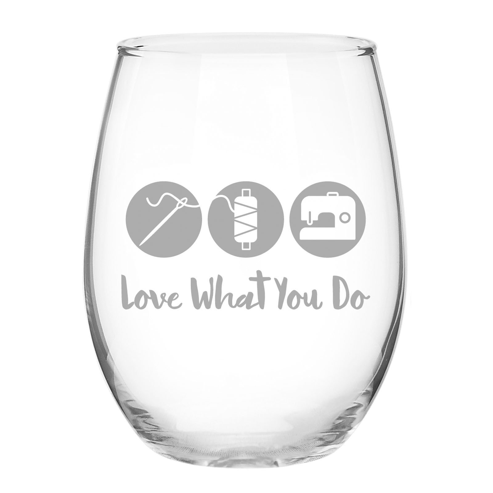 Quilt Happy Love What You Do Stemless Wine Glass