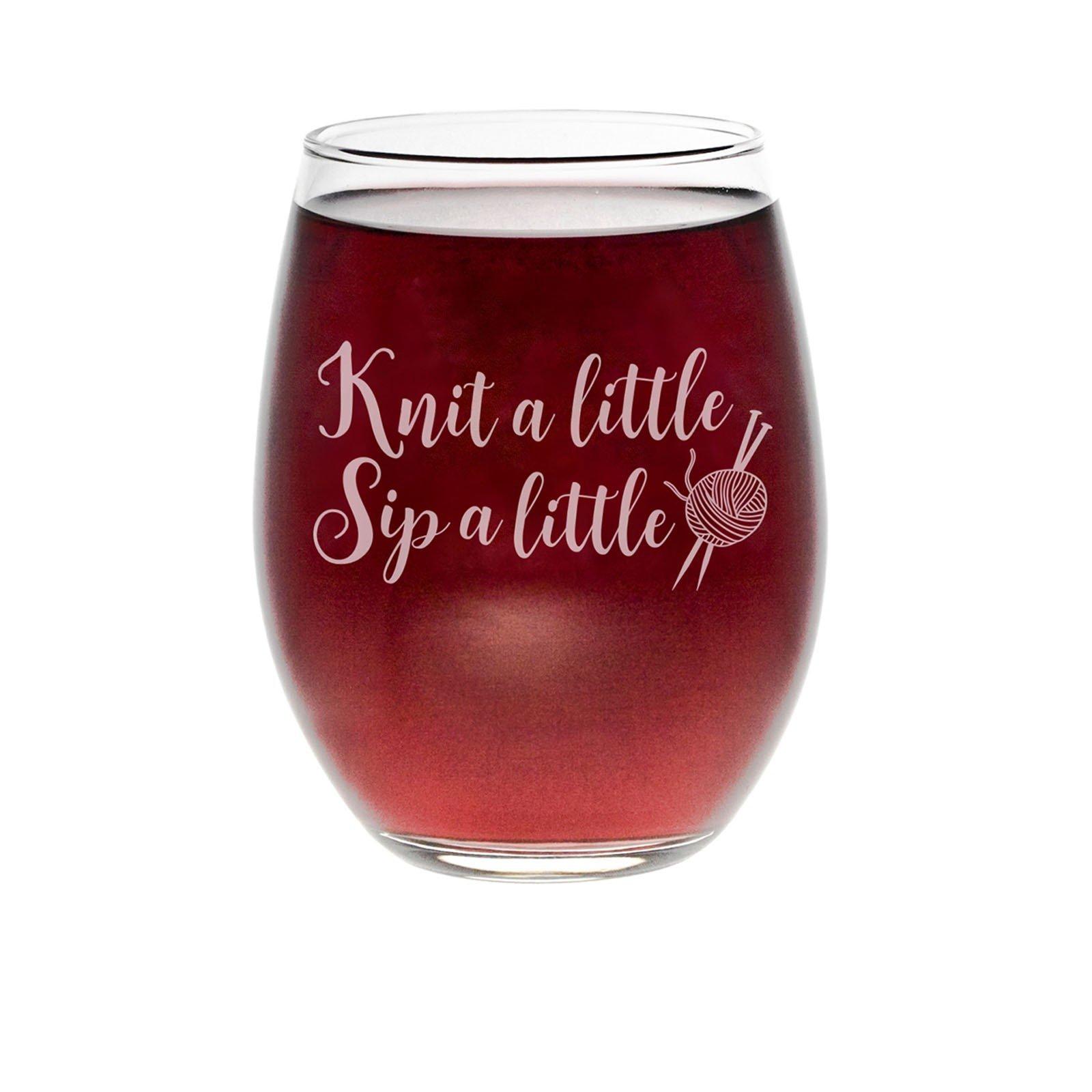 Knit Happy Knit A Little Stemless Wine Glass