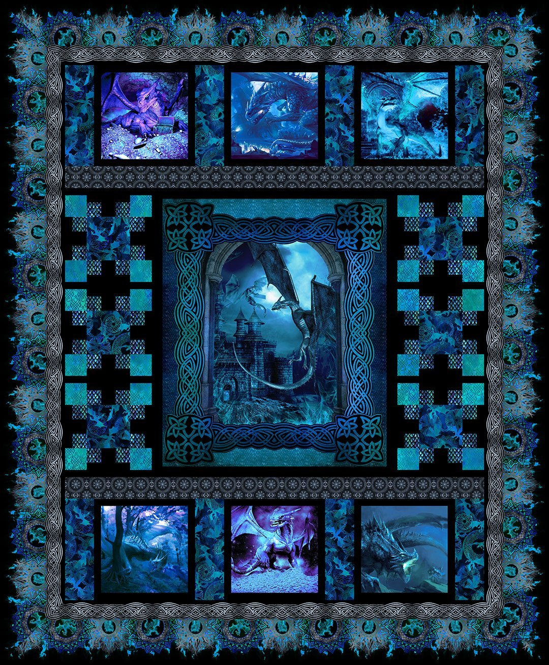 Dragons: Blue Fury Quilt Kit