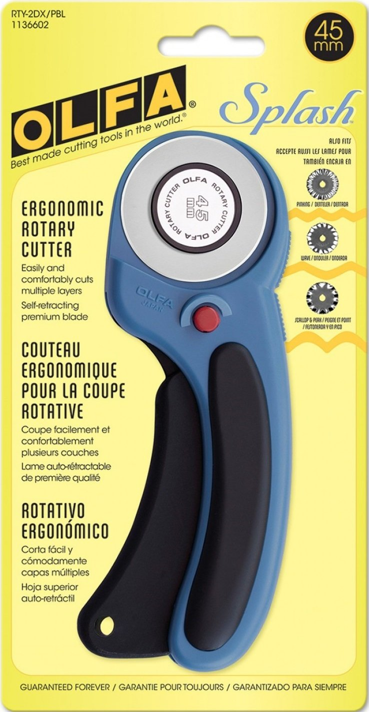 Olfa 45mm Ergonomic Rotary Cutter - Pacific Blue