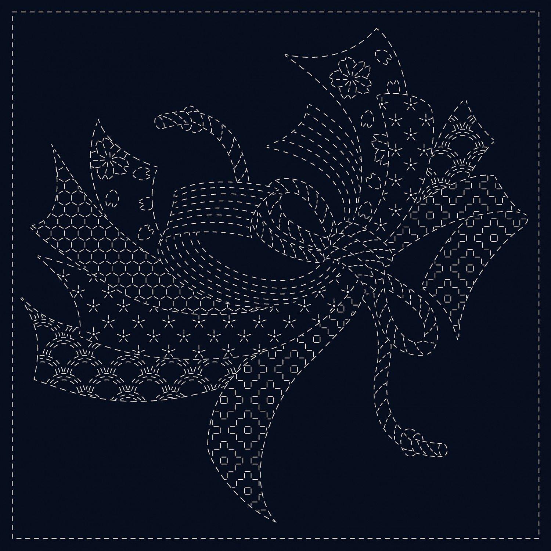 QH Textiles Sashiko Cloth - Noshi - Navy