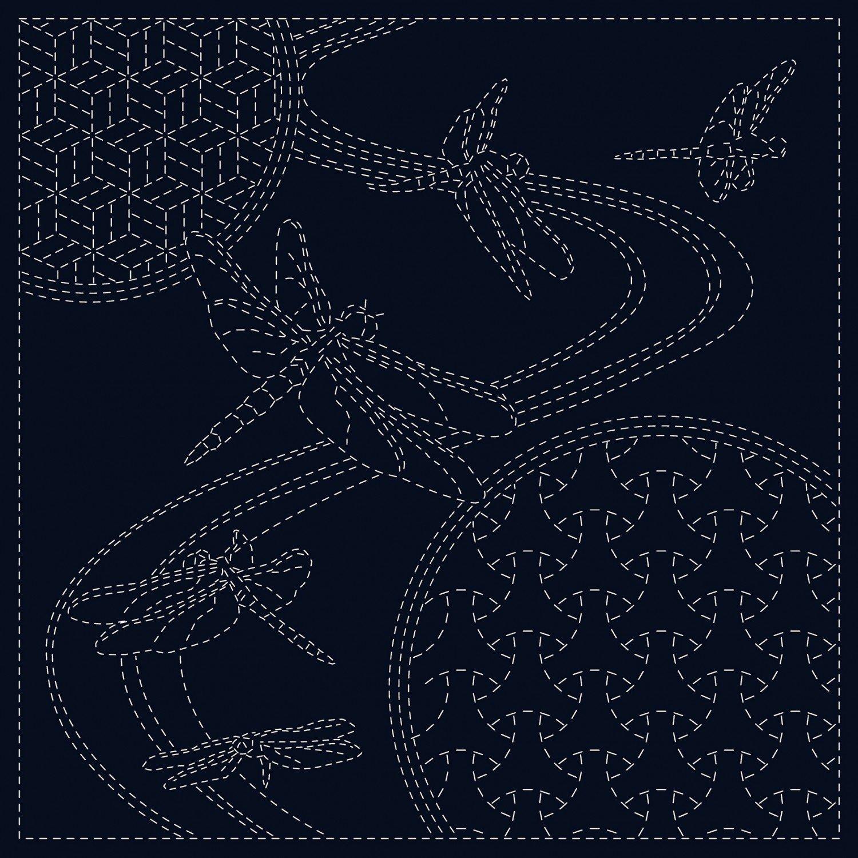 QH Textiles Sashiko Cloth - Dragonfly - Navy
