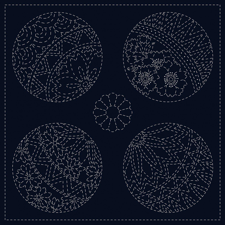 QH Textiles Sashiko Cloth - Temari - Navy