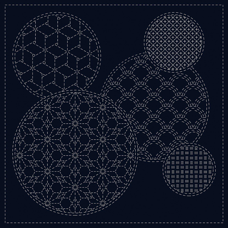 QH Textiles Sashiko Cloth - Mixed Pattern - Navy