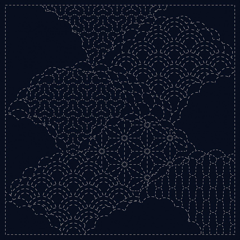 QH Textiles Sashiko Cloth - Cumulus Cloud - Navy