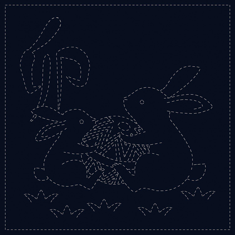 QH Textiles Sashiko Cloth - Rabbits - Navy