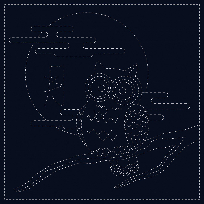QH Textiles Sashiko Cloth - Owl - Navy
