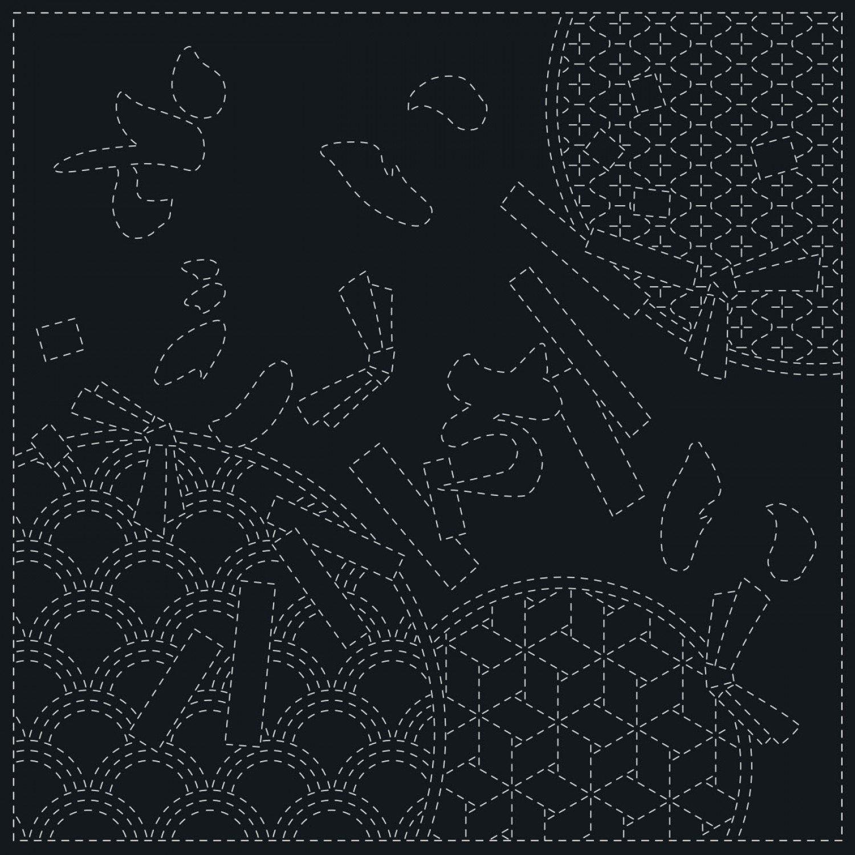 QH Textiles Sashiko Cloth - Wishes - Navy