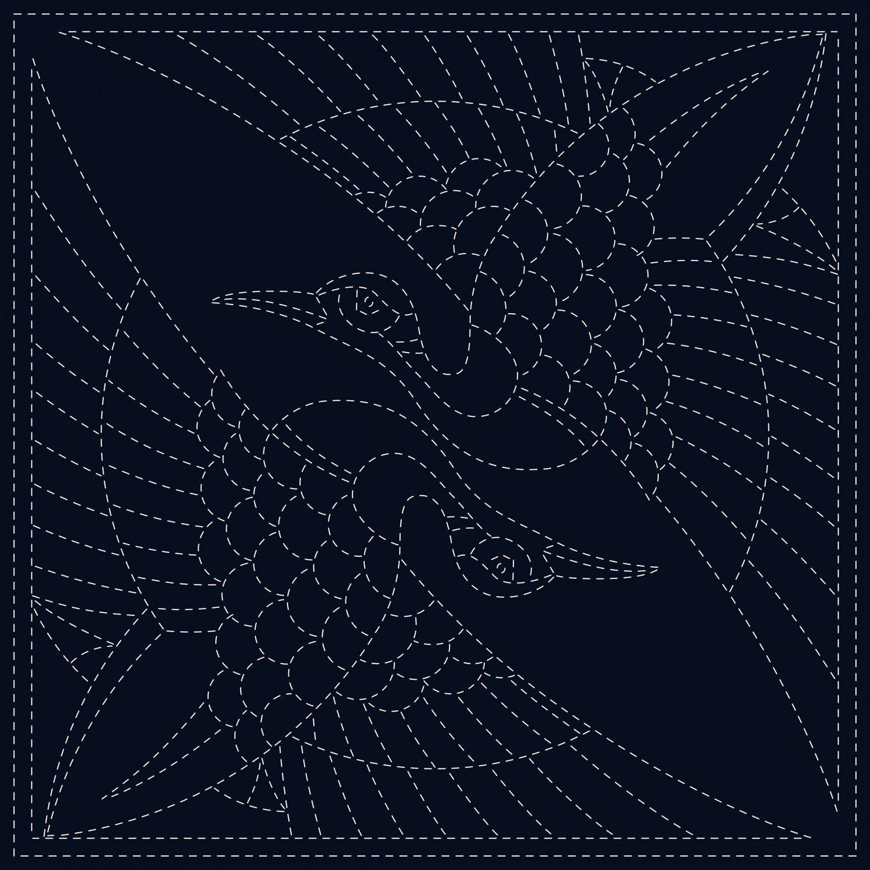 QH Textiles Sashiko Cloth - Two Cranes - Navy