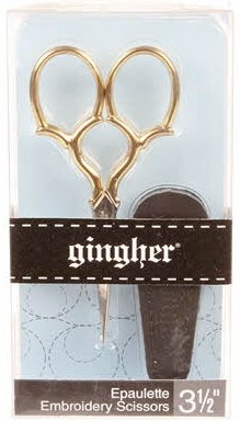Gingher Gold-handled Epaulette Embroidery Scissors - 3-1/2