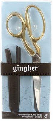 Gingher Gold-Handled Bent Knife-Edge Dressmaker Shears - 8