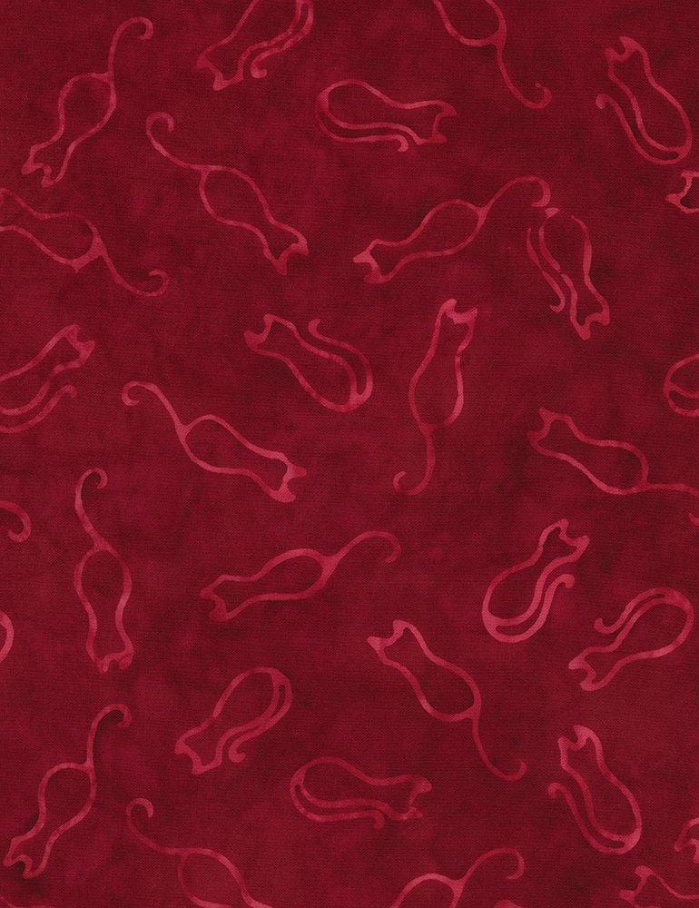 Whiskers n Catnip Batiks - Cat Outline - Cranberry