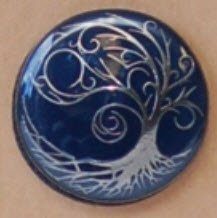 Enamel Shank Button - Tree with Swirly Branches - Dark Blue/Gun Metal