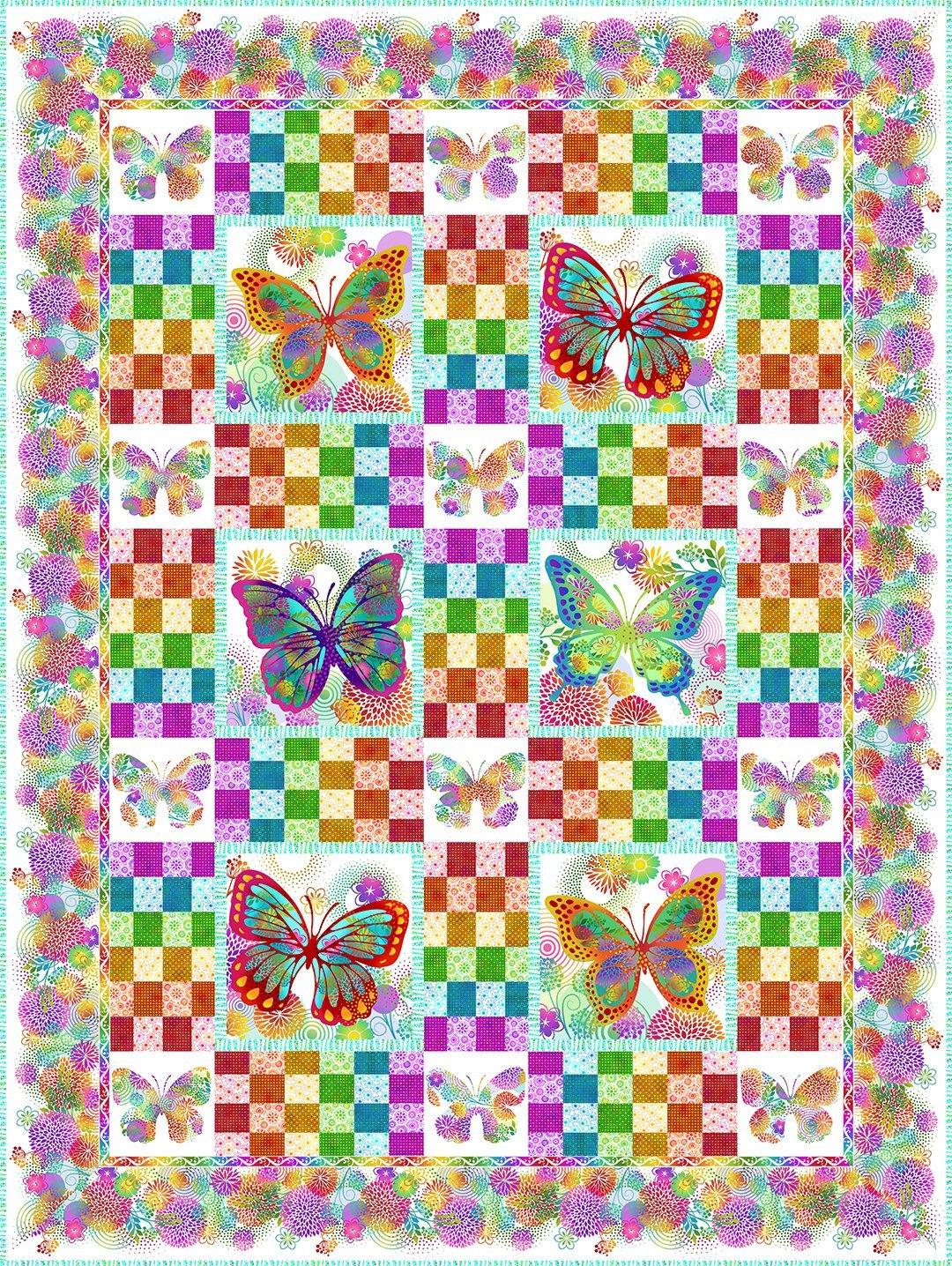 Unusual Garden II Butterfly Quilt Kit - White