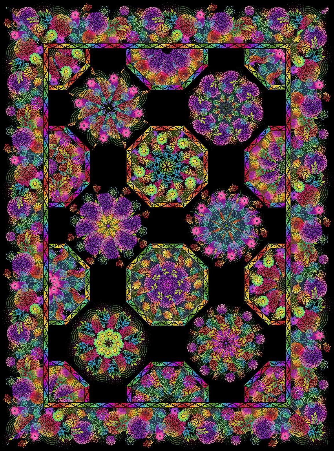 Unusual Garden II One-Fabric Kaleidoscope Pattern