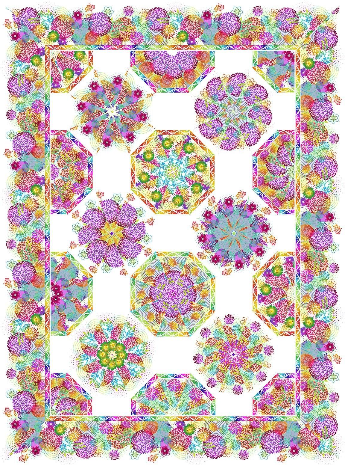 Unusual Garden II One-Fabric Kaleidoscope Quilt Kit - White