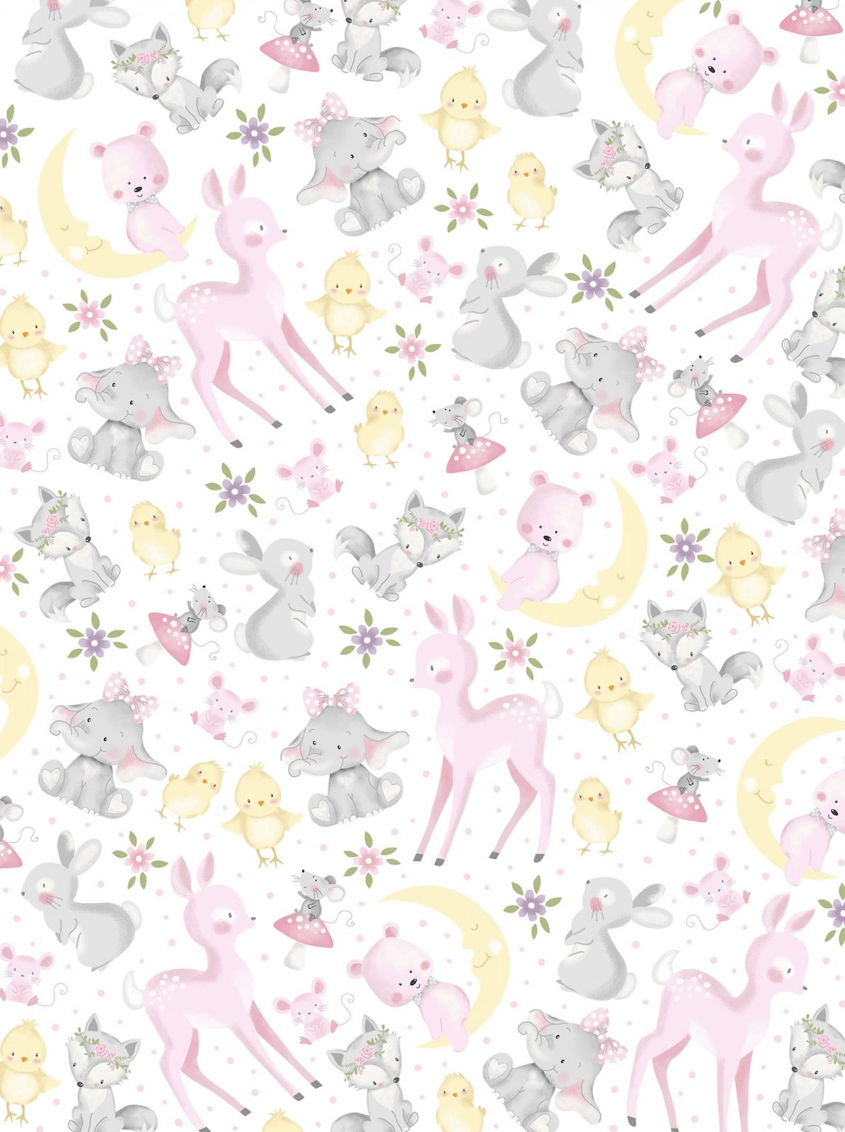 Wee Ones - Moon Animals (Remnant: 2 yds)