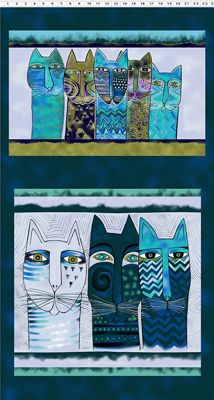 Feline Frolic - Pillow Panel - Dark Teal