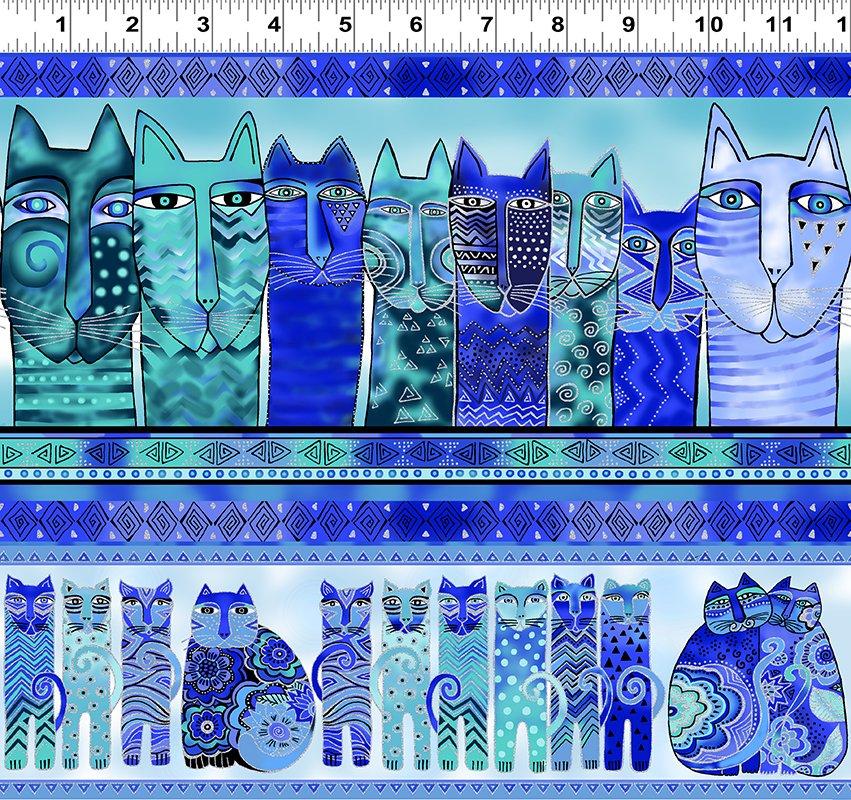 Feline Frolic - Cat Stripe - Royal Blue