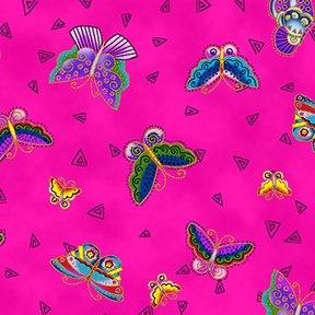 Feline Frolic - Butterflies - Fuchsia