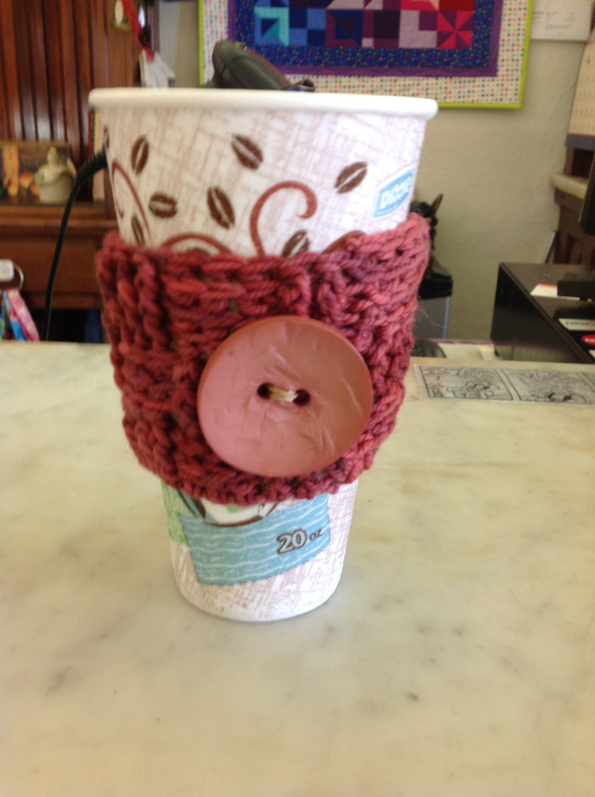 Waffle Coffee Cozy with Button - Handmade