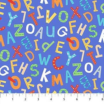 Alphabet Soup Flannel Blue Alphabet