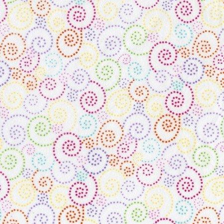 Dotted Swirls Flannel White
