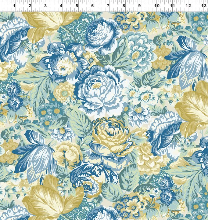 Romance Large Floral Blue/Yellow