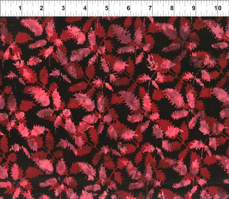 Floragraphix Batik 4 - Leaves - Wine