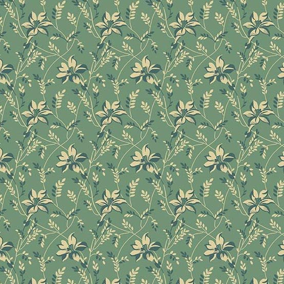 Sequoia 8753-T Blue Spruce Buds and Vines by Laundry Basket Quilts for Andover Fabrics
