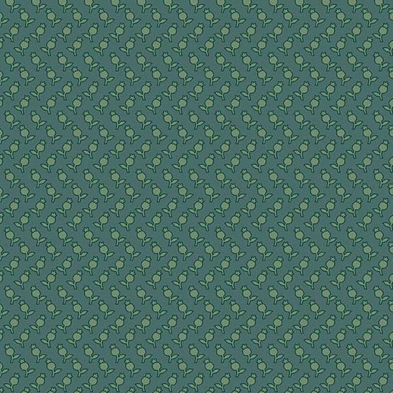 Sequoia 8757-T River Blue Tulips by Laundry Basket Quilts for Andover Fabrics