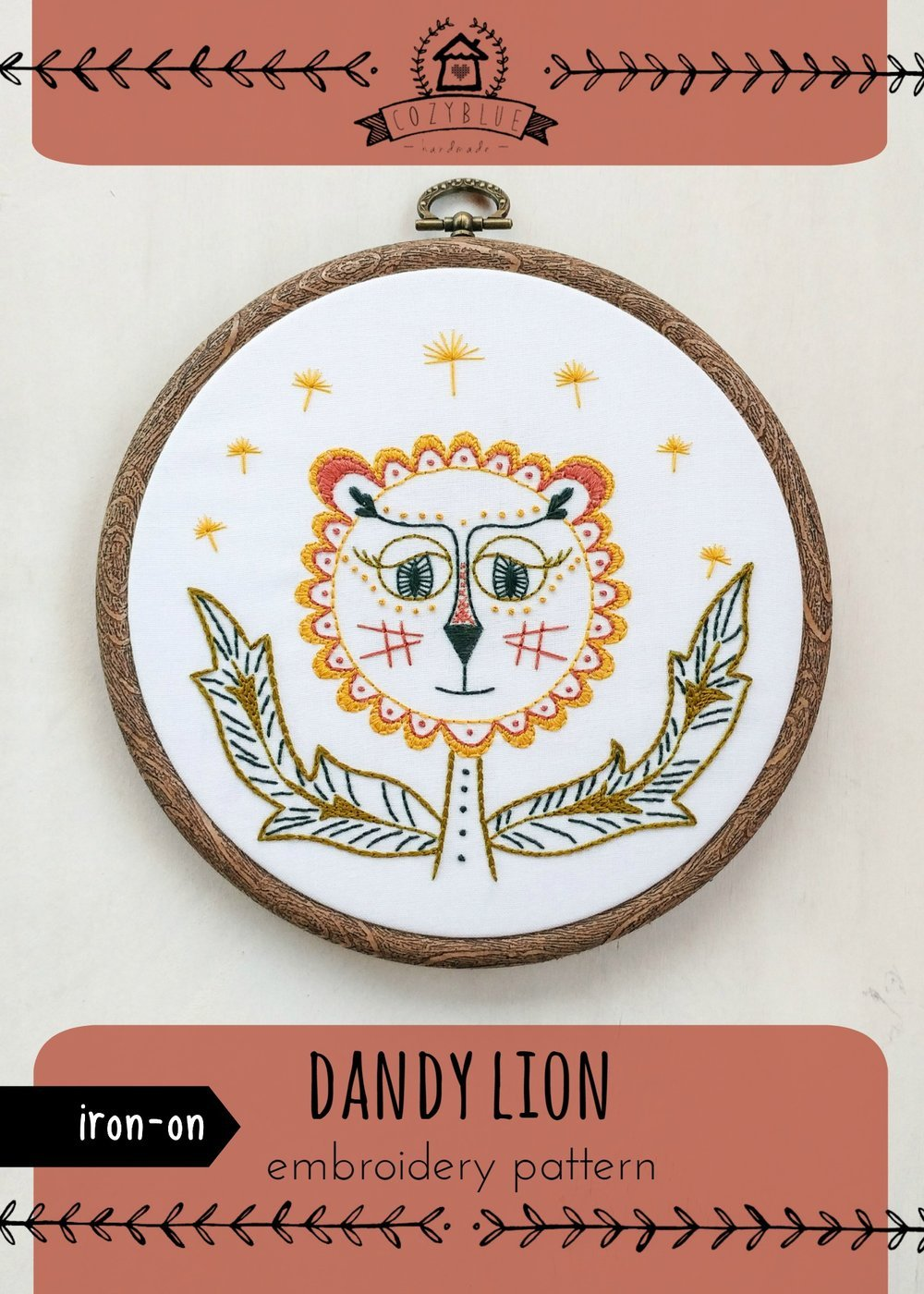 Dandy Lion Iron-On Embroidery Pattern