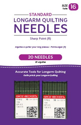Standard Longarm Needles – Two Packages of 10 (16/100-R, Sharp)