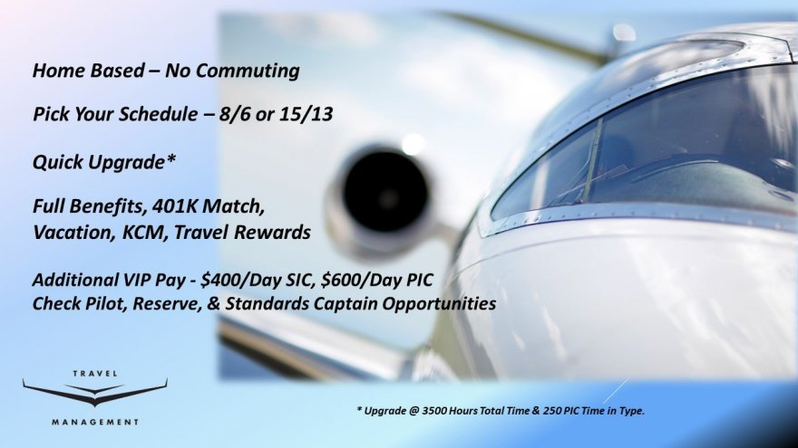 Terrific Pilot Opportunities at Travel Management Company