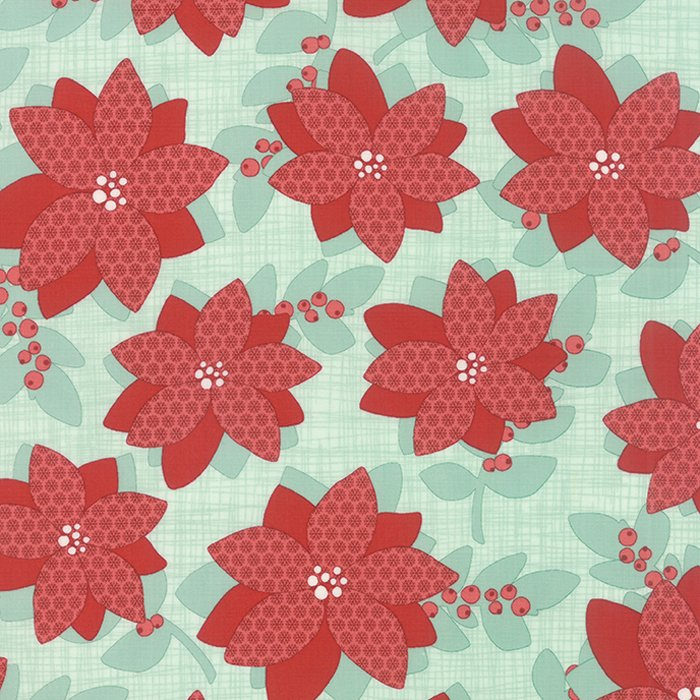 Winterberry Poinsettia Mint by Kate & Birdie for Moda 13140-12