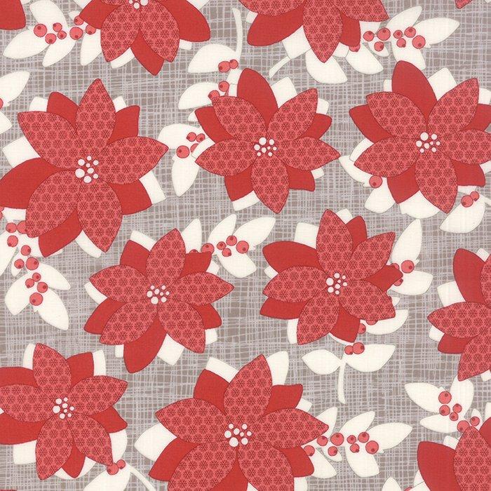 Winterberry Poinsettia Stone by Kate & Birdie for Moda 13140-15