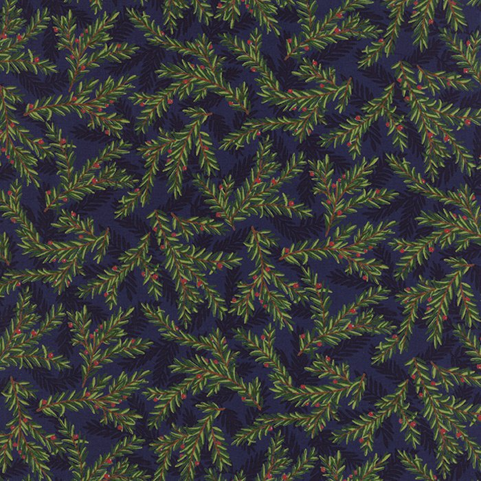 Be Jolly Midnight Blue Pine Branches #19676-13