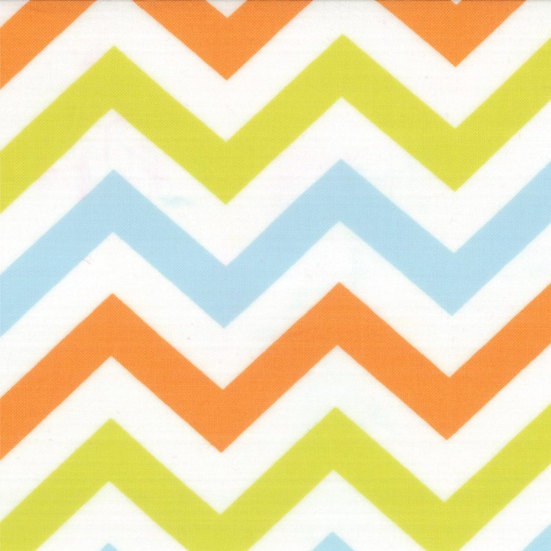 Mixed Bag Zig  Zag Sprouts by Studio M for Moda #32864-13 Chevron in Blues and Orange