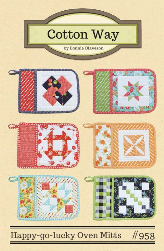 Happy Go Lucky Oven Mitts Pattern by Cotton Way - Fat Quarter Friendly #958