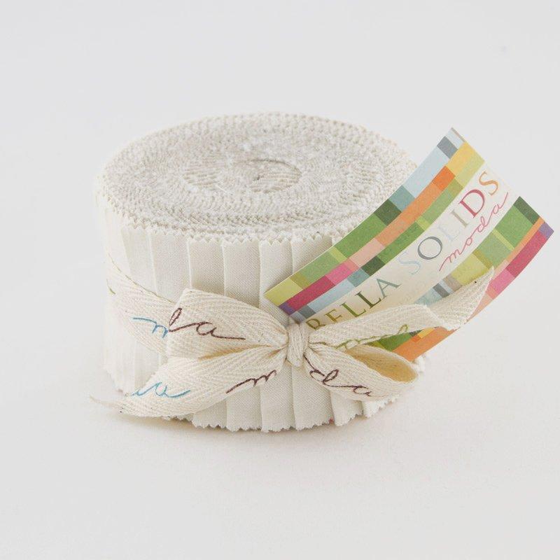 Bella Solids JUNIOR Jelly Roll White by Moda 9900JJR-98