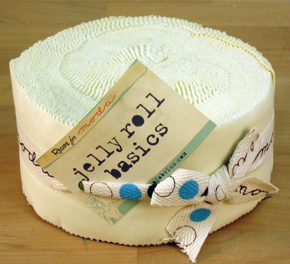 Bella Solids Jelly Roll Snow by Moda 9900JR-11