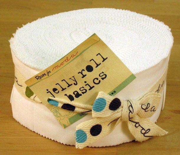 Bella Solids Jelly Roll White by Moda 9900JR-98