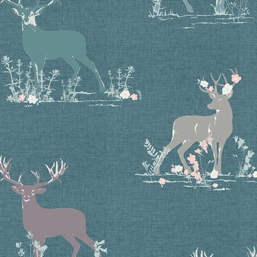Blithe Dear Deer Teal by Katarina Roccella for Art Gallery Fabrics BLI-75602