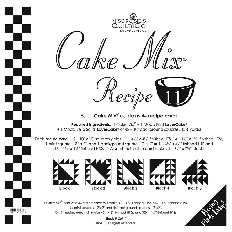 Cake Mix Recipe 11 by Miss Rosie's Quilt Co CM11