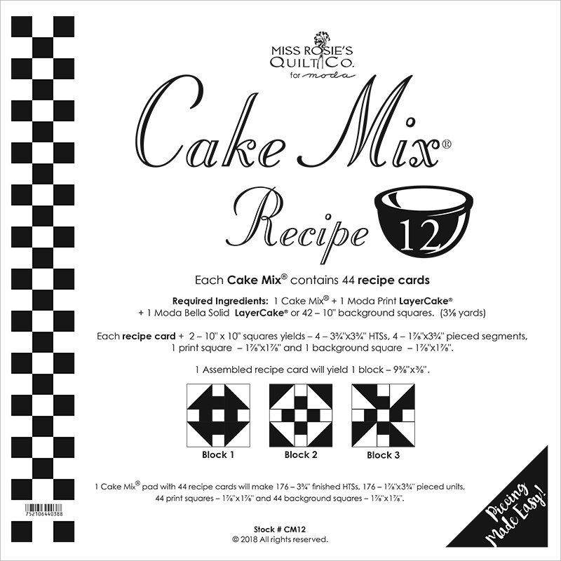 Cake Mix Recipe 12 by Miss Rosie's Quilt Co CM12