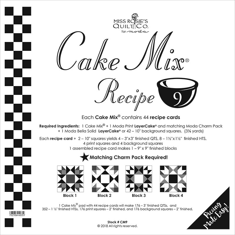 Cake Mix Recipe 9 by Miss Rosie's Quilt Co CM9