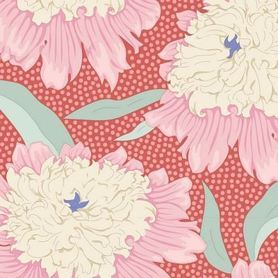 GardenLife Bowl Peony Coral by Tilda for Brewer Sewing TIL100307