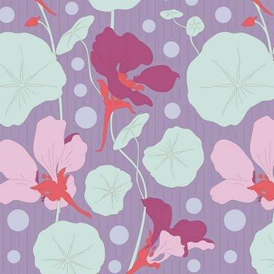GardenLife Nasturtium Lavender by Tilda for Brewer Sewing TIL100308