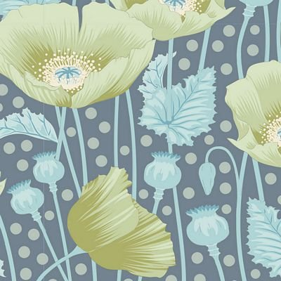 GardenLife Poppies Grey Green by Tilda for Brewer Sewing TIL100312