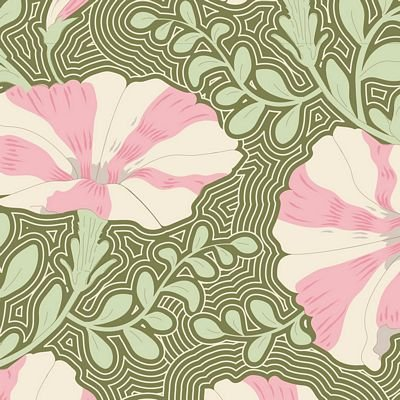 GardenLife Striped Petunia Green by Tilda for Brewer Sewing TIL100313